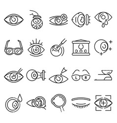 Eyeball icon set outline style vector
