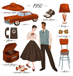 Fashion and clothes furniture and objects 1950s vector