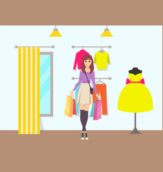 female shopaholic bags walking from store vector image