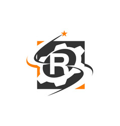 Gear solution logo letter r vector