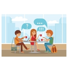 Group of friends in cafe vector image