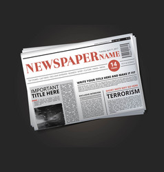 half of newspaper template with headline vector image