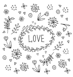 Hand drawn love vintage floral elements vector