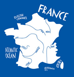 hand drawn stylized map france travel vector image