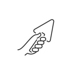Hand with trowel icon in thin line style vector