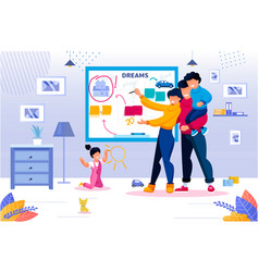 happy family and life goal wish list check up vector image