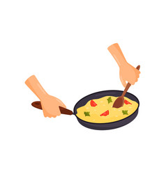 Human hands holding pan with a delicious dish vector