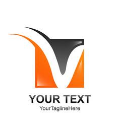 initial letter v logo template colored black vector image