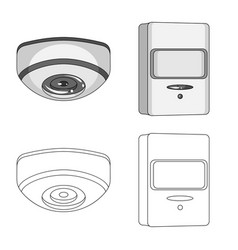 Isolated object of cctv and camera symbol set of vector
