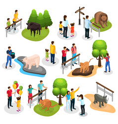 Isometric zoo elements collection vector