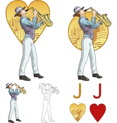 Jack of hearts musician Mafia card set vector