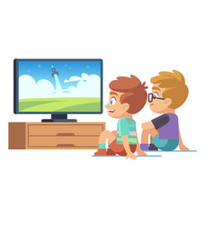 kids watch tv children movie home boy girl vector image