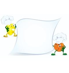 Lemon and orange in chef hat vector image