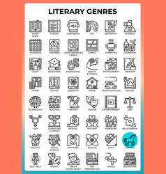 Literary genres icons vector
