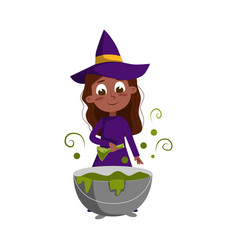little witch brewing potion in cauldron cute girl vector image