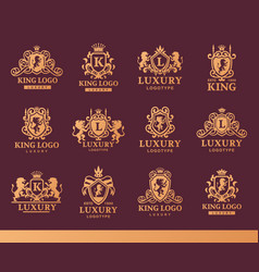 luxury boutique royal crest high quality vintage vector image