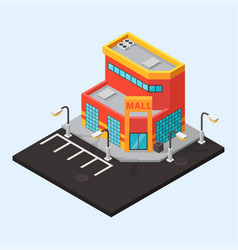 mall shop isometric buildings isolated vector image