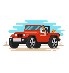 Man driving off-road car flat style vector