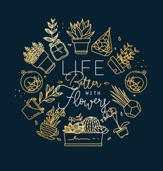 Monogram pots with plants life better gold vector