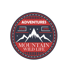 Mountaineering adventures vintage isolated badge vector