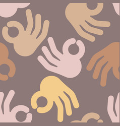 Okay hand sign seamless pattern positive consent vector