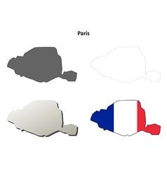 Paris Ile-de-France outline map set vector