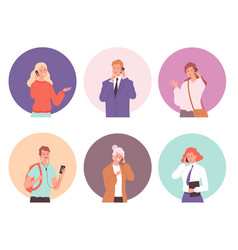 people talking phone young male and female vector image