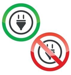 Plug permission signs vector