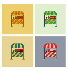 Popcorn shop set vector