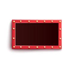 Retro red rectangular blank frame with illuminated vector