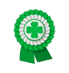 Ribbon rosette with four leaf clover cartoon icon vector
