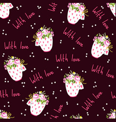 Romantic seamless pattern with flowers and cups on vector