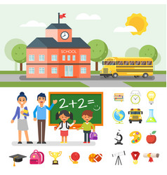 school building and yellow bus vector image