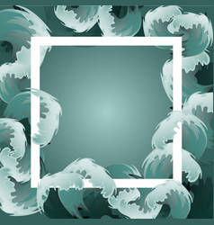 sea blue water wave frame ocean border background vector image