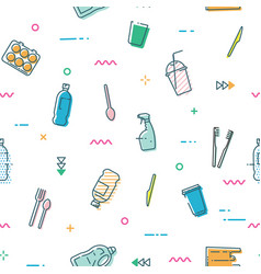 seamless pattern with different kinds of plastic vector image