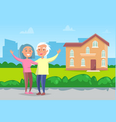 senior couple standing in front house vector image