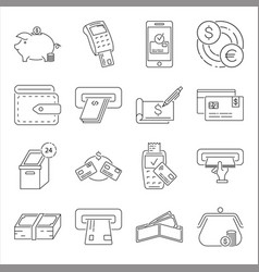 Set money related line icons vector