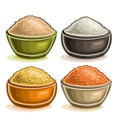 Set of different groats in bowls vector