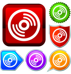 Set shiny icon series on buttons cd vector