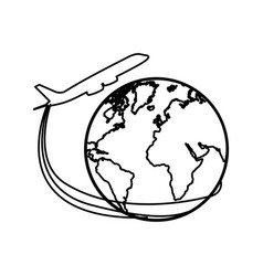 silhouette airplane around earth world icon vector image