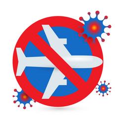 Stop flights icon prohibition flights vector