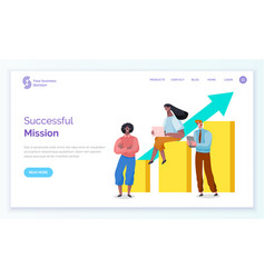 Successful mission completion team website vector