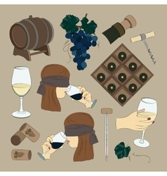 Tasting wine icons vector image