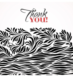 Thank you typographic card with ink floral vector