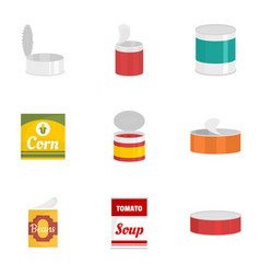 Tinned can icon set flat style vector