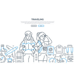 traveling - line design style web banner vector image