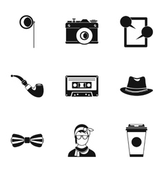 Trendy hipsters icons set simple style vector
