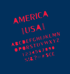 usa font alphabet numbers vector image