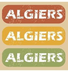 Vintage Algiers stamp set vector