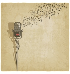 Vintage background with microphone vector image